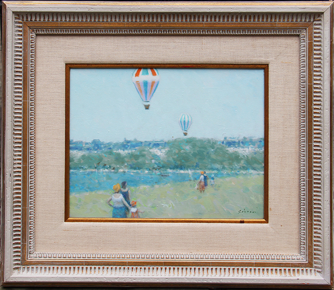 Andre Gisson painting with rare balloon subject matter