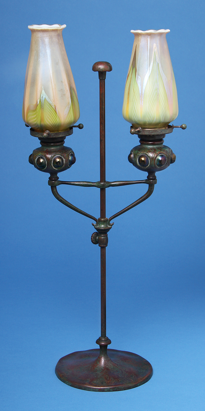 We'll have this great Tiffany Studios candlestick lamp at the show