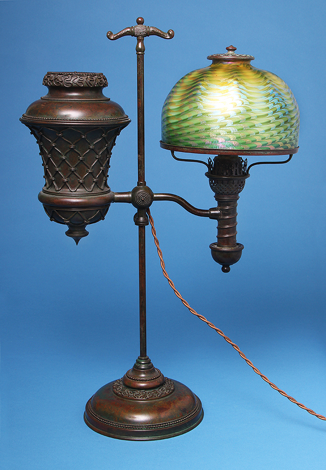 This killer Tiffany Favrile student lamp will be at the show