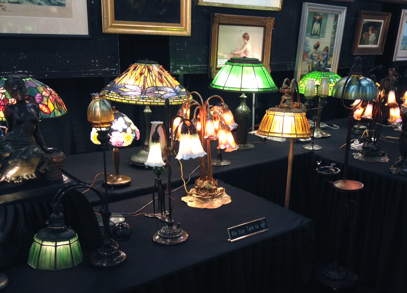 Some of the beautiful Tiffany and Pairpoint lamps for sale in our booth