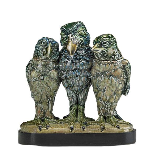 A rare Martin Brothers triple bird, Rago lot #18