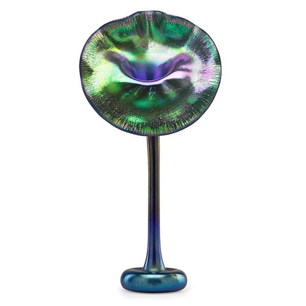 A rare Tiffany Favrile blue Jack-in-the-Pulpit vase, Rago lot #435