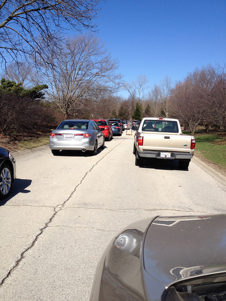 There was a long line of cars to get in on Friday morning