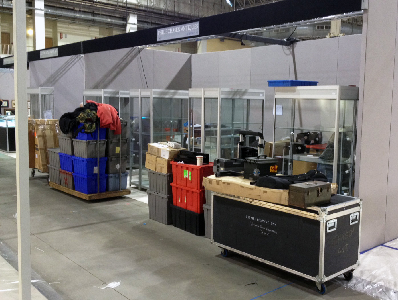 This is what our booth looks like when we start setting up