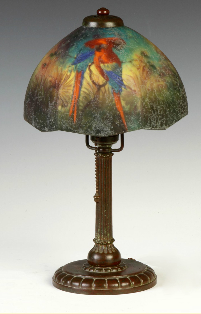 Handel Jungle Birds boudoir table lamp, Cottone lot #260