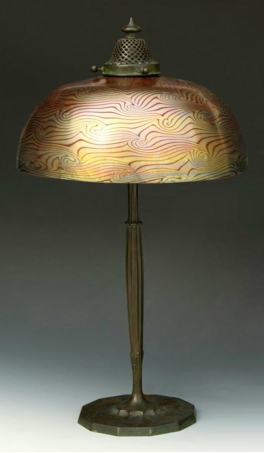 "Tiffany Studios 10"" Favrile table lamp, Cottone lot #260"