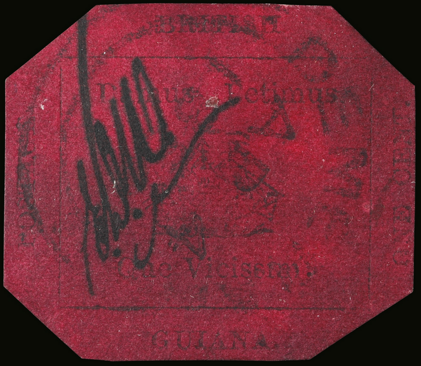 The British Guiana 1856 One-Cent, Black on Magenta stamp
