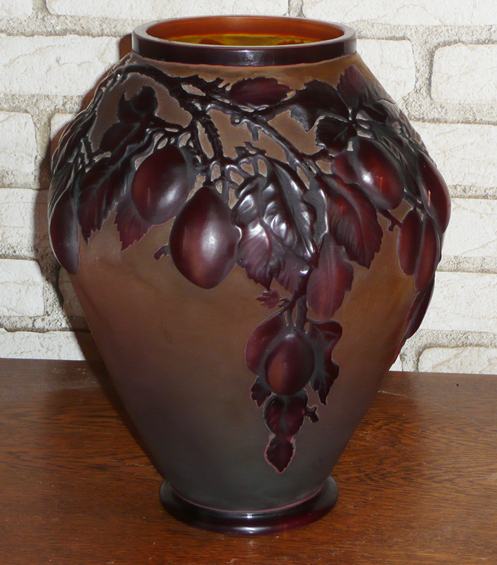 This fantastic Gallé plum blownout vase is due to arrive in the next day or two