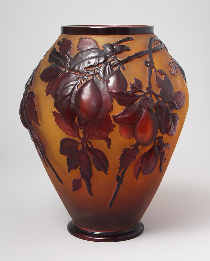 This fabulous Gallé plum blownout vase just arrived