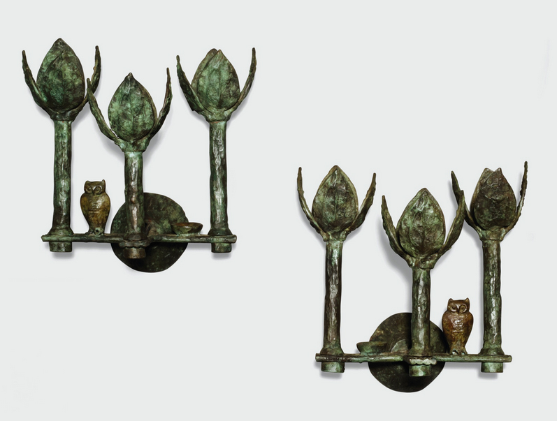 A pair of Giacometti wall sconces from 1968, Sotheby's lot #123