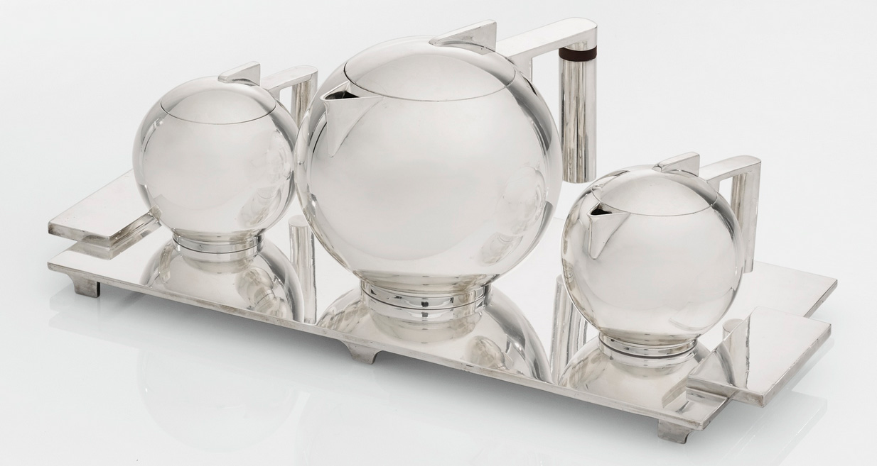 Paul Lobel silver-plated coffee service, Sotheby's lot #77