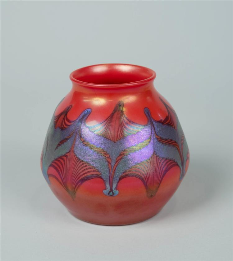 Tiffany red decorated vase, Grogan lot #496