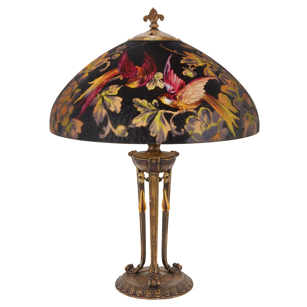 "This fine Handel 18"" diameter Black Bird lamp is a recent purchase"