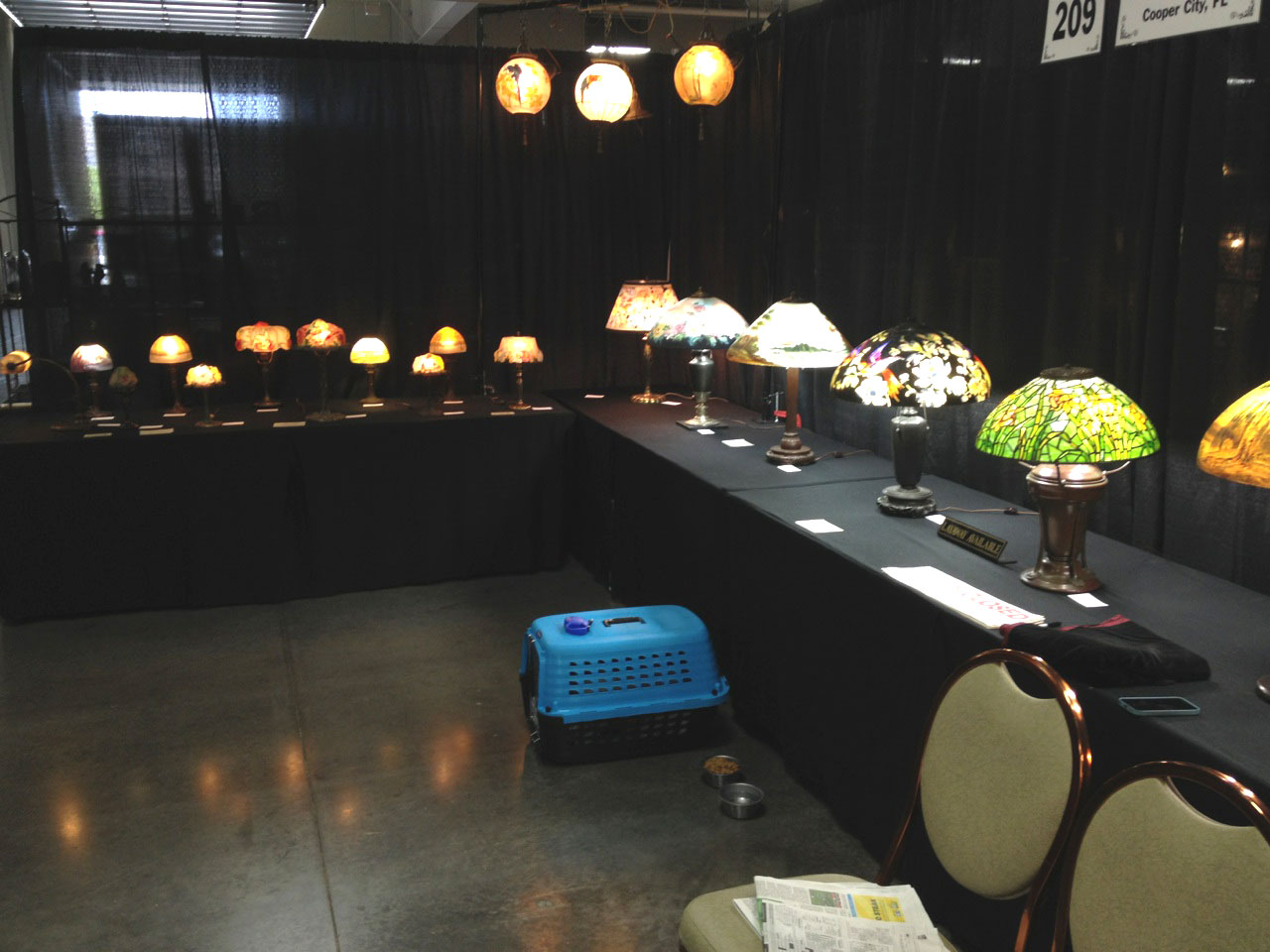 Alan and Adele Grodsky have a booth full of Handel and Pairpoint lamps