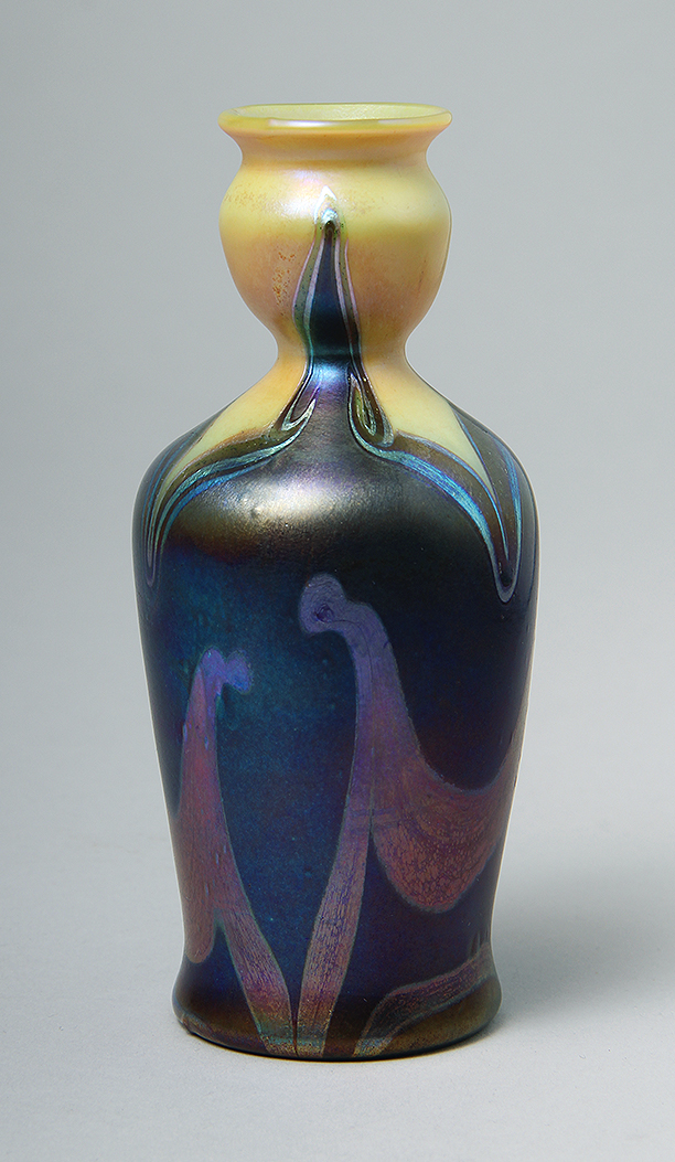 One of several Tiffany Favrile vases sold at the show