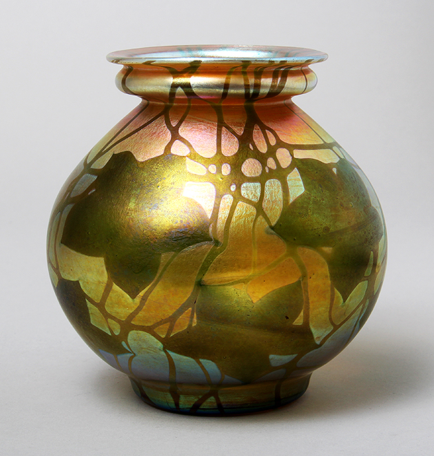 This lovely Tiffany Favrile decorated vase just arrived