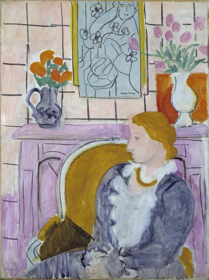 Matisse's Profil Bleu Devant la Cheminée