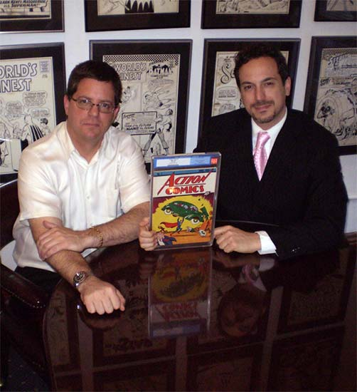 Vincent Zurzolo (right) and Stephen Fishler with a different copy of Action Comics #1