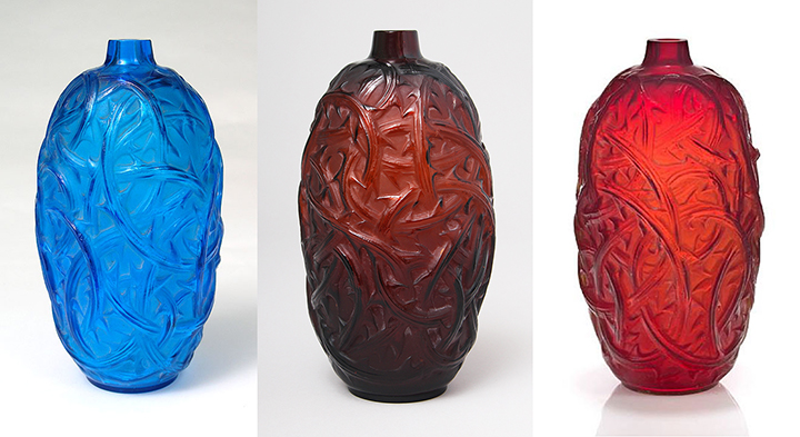 Three variations of R. Lalique Ronces vases