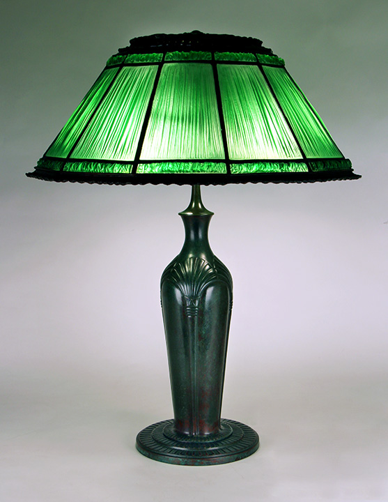 "This beautiful Tiffany 19"" green Linenfold table lamp was sold at the show"