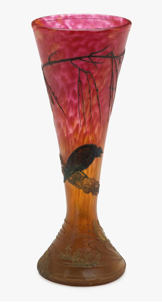 Daum Bird & Frog vase, Freeman's lot #430