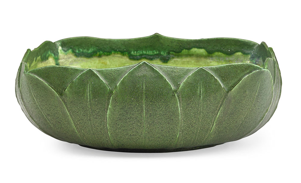 Grueby, Large low bowl carved with leaves, Boston, MA, ca. 1905. Sale Price: $1,625, Rago Arts & Auction Center