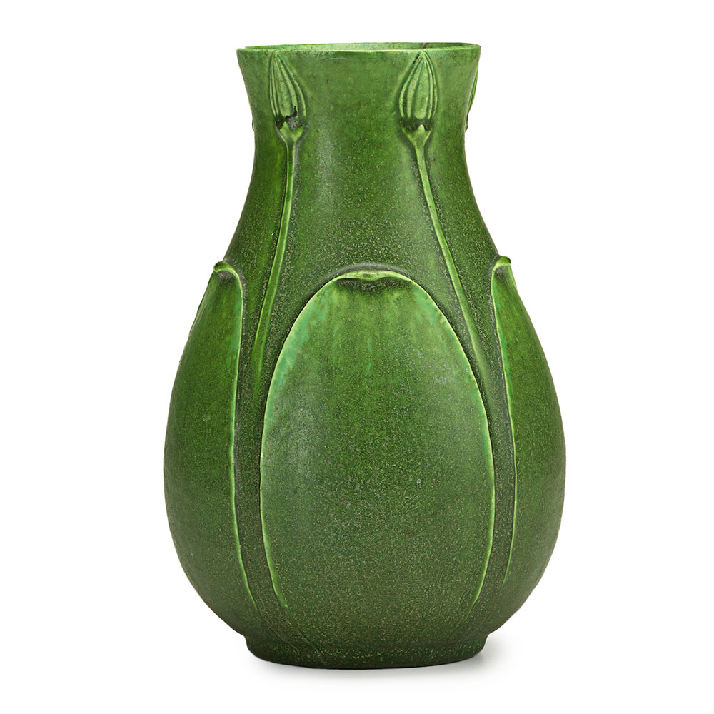 Grueby, Vase with buds and leaves, Boston, MA, ca. 1905. Sale Price: $2,125, Rago Arts & Auction Center