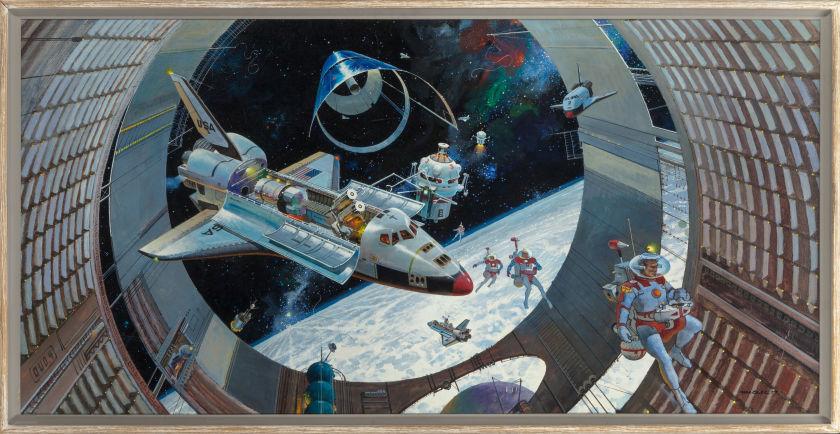 Robert Theodore McCall painting, Earth Orbit 98, Heritage lot #72019