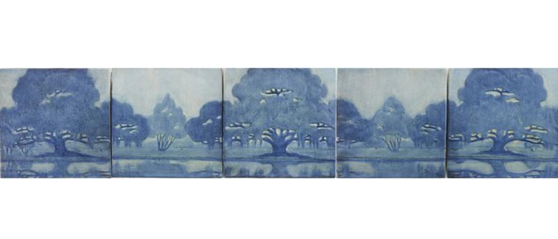 Newcomb College five-tile frieze, Rago lot #99