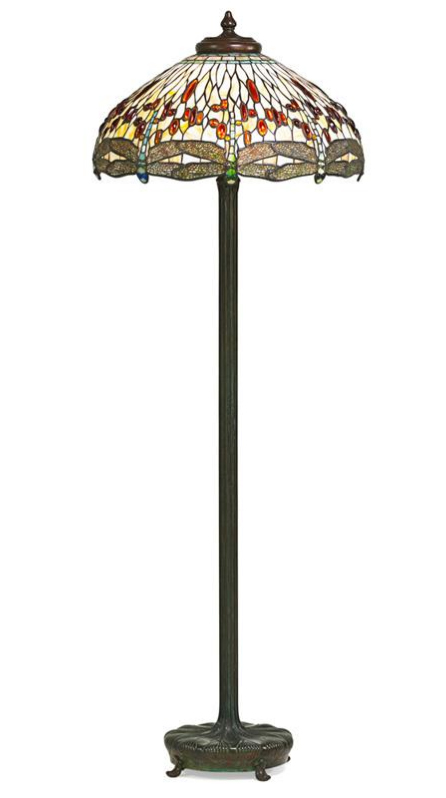 "Tiffany Studios  22"" Drop-Head Dragonfly floor lamp, Rago lot #312"