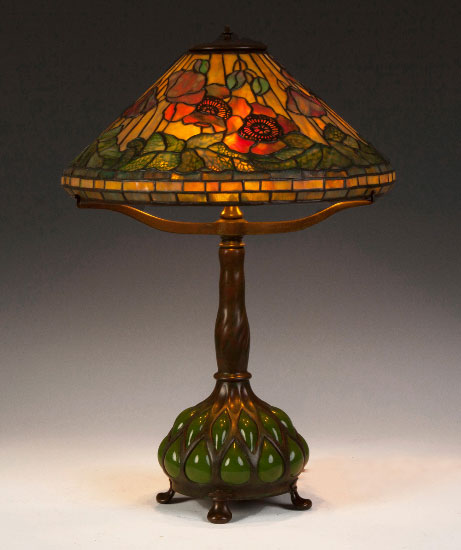 Tiffany Studios Poppy table lamp, Cottone lot #502
