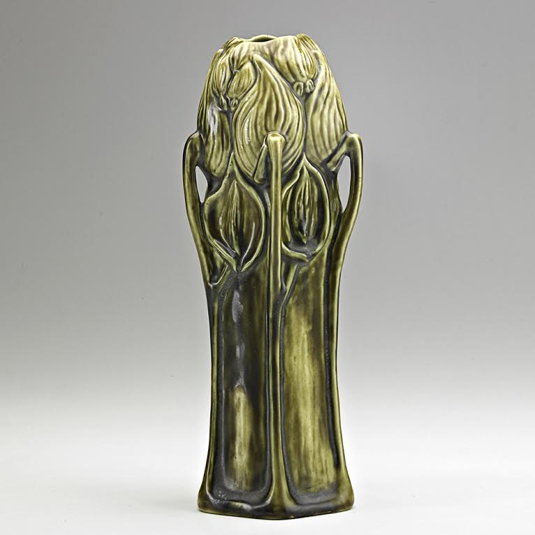 Tiffany Studios, Rare glazed earthenware milkweed vase, New York, 1900s. Sale Price: $42,500, Rago Arts & Auction Center