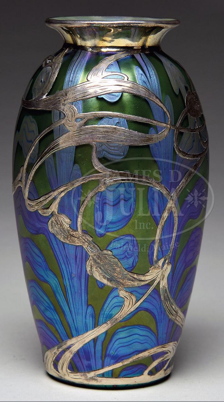Fine silver overlay Loetz vase, Julia's lot #2005