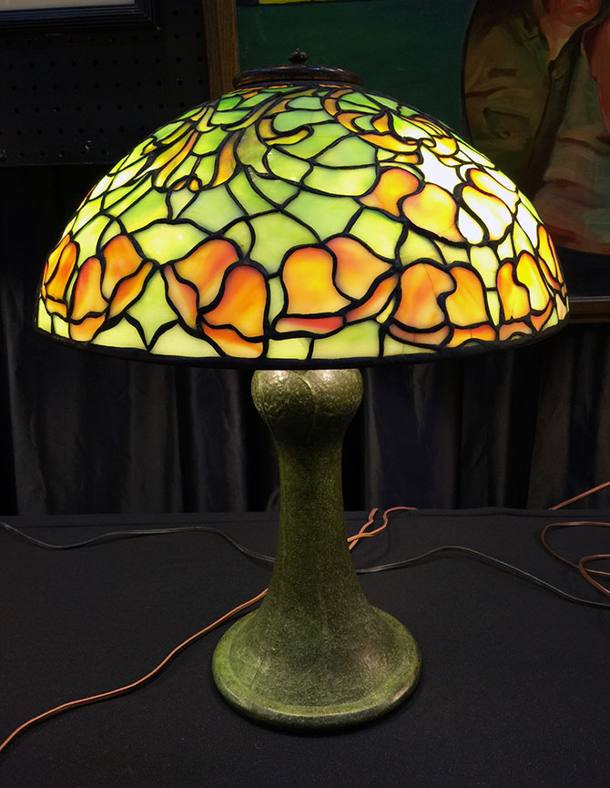 We sold this lovely Tiffany/Grueby lamp at the show