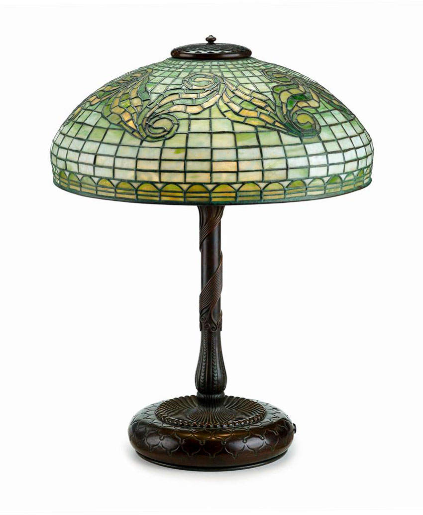 "We'll have this beautiful Tiffany 18"" Tyler Scroll table lamp at the show"