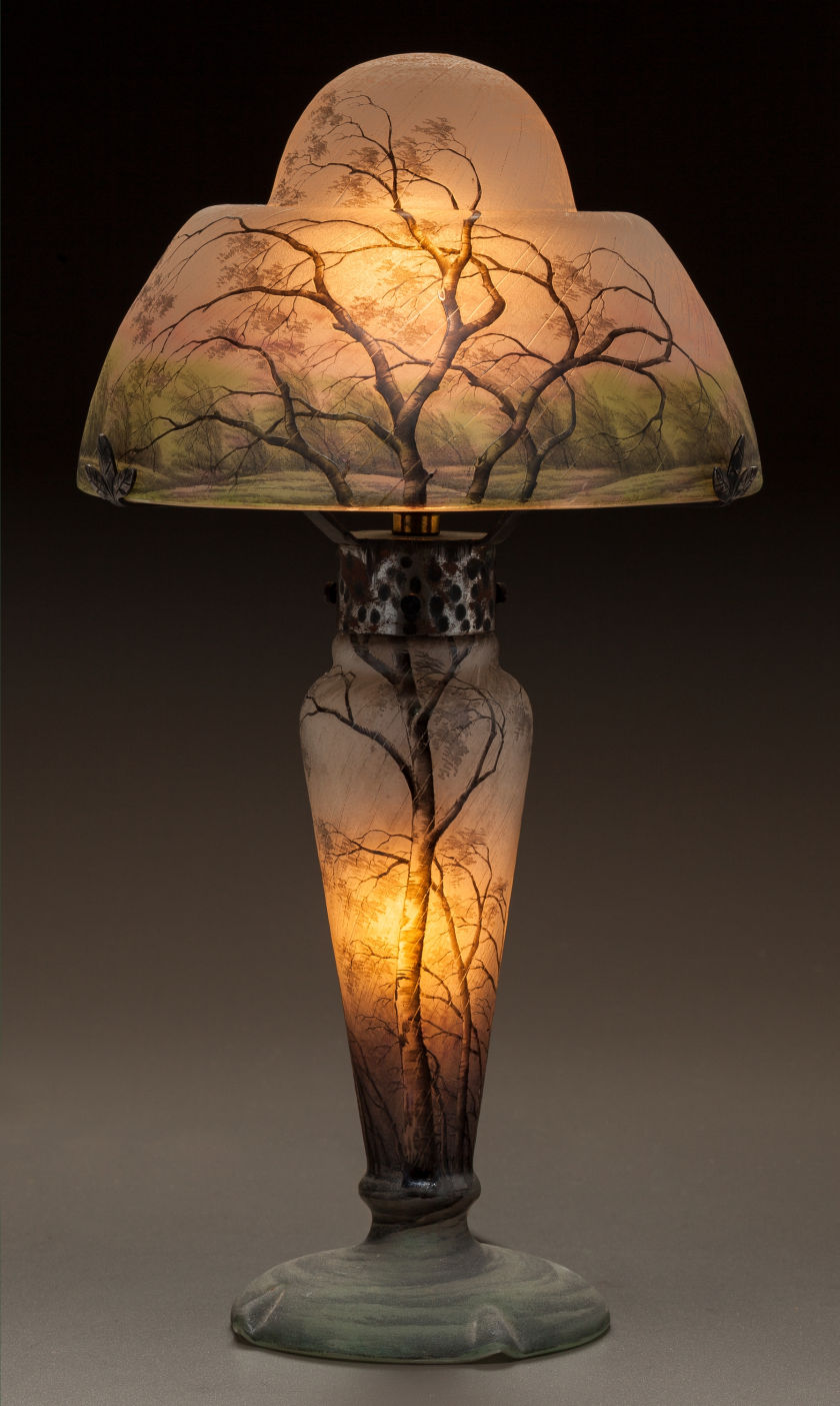 Daum Nancy Rain scenic table lamp, Heritage lot #60138