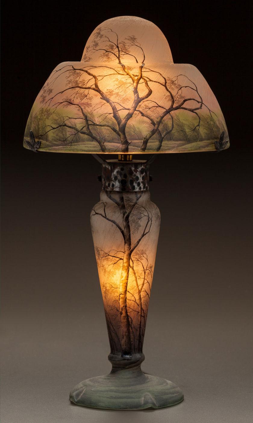 Daum Nancy Rain scenic table lamp, Heritage lot #60138