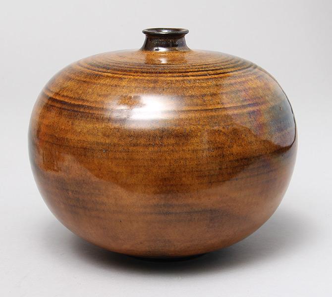 Natzler  Tiger Eye Reduction Glaze vase