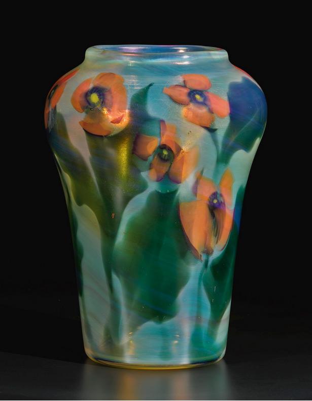 Tiffany Poppy paperweight vase, Sotheby's lot #207