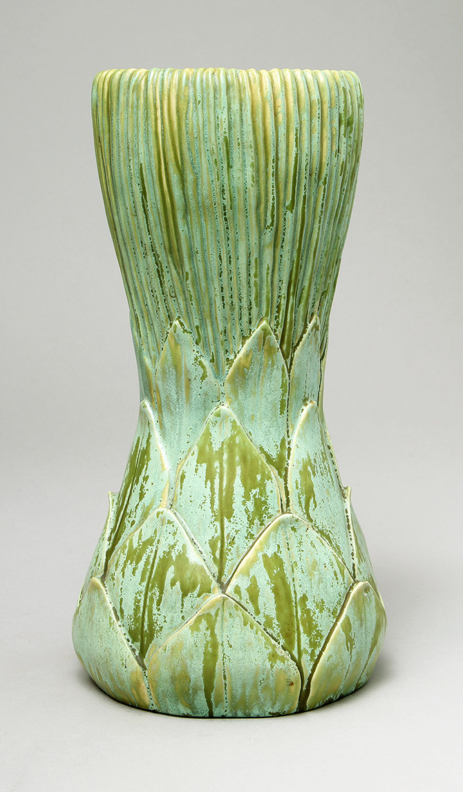 Fine, rare Tiffany Favrile Artichoke pottery vase