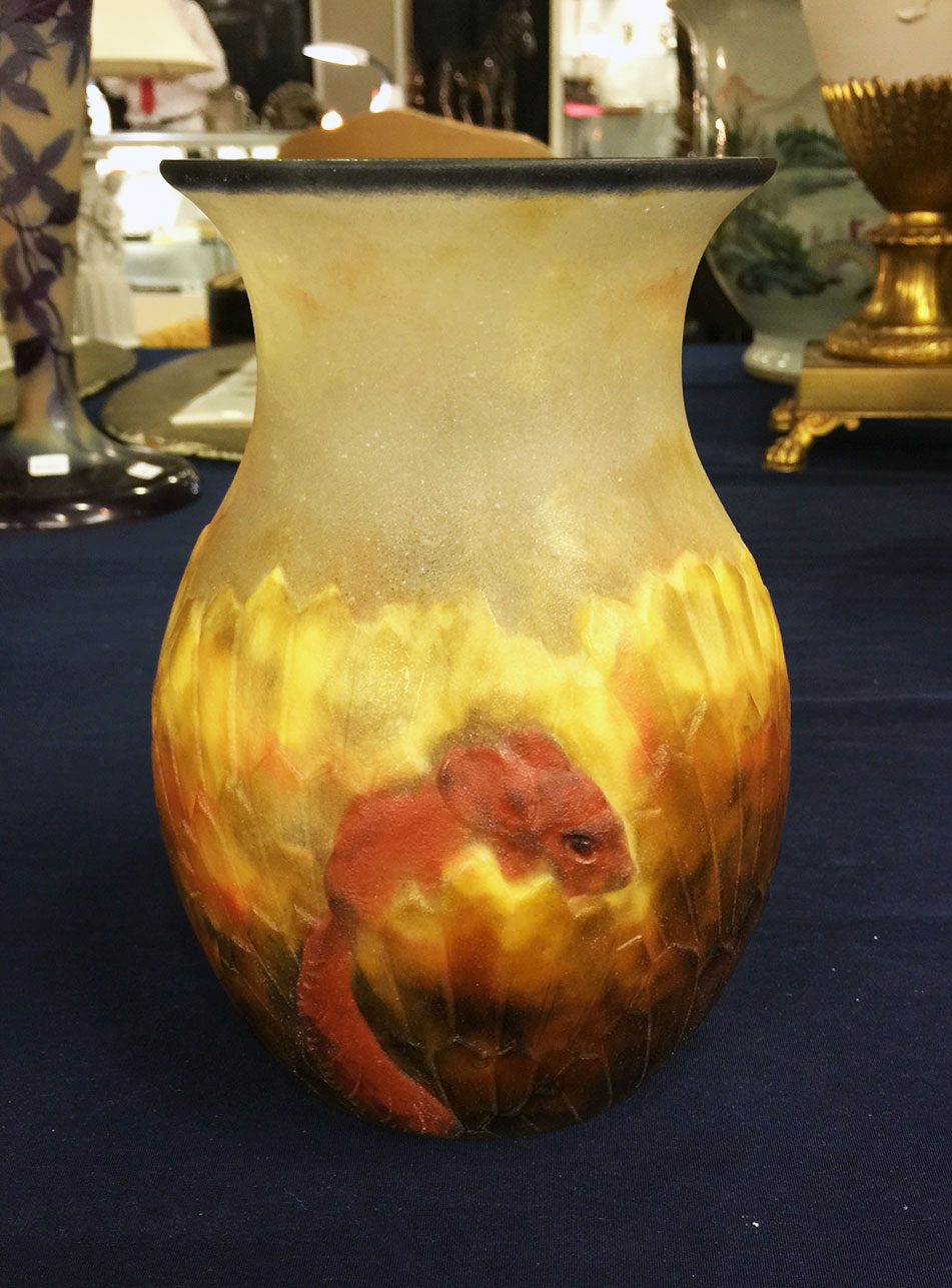 We sold this important Argy-Rousseau pâte-de-verre vase in Miami