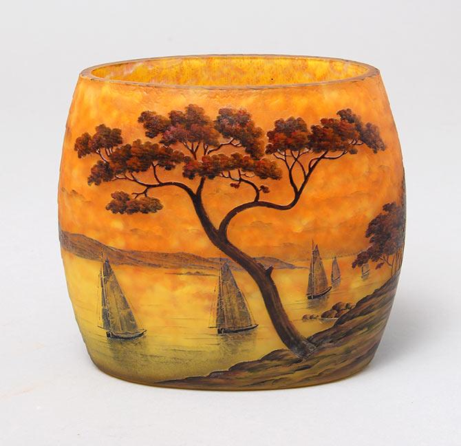 Striking Daum Nancy Marine pillow vase