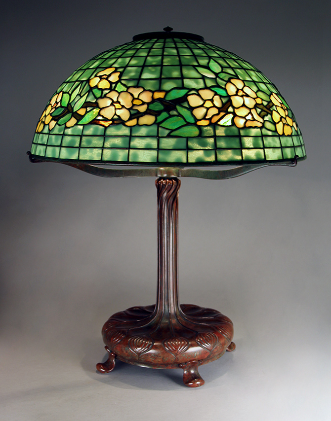 "This lovely 18"" Tiffany Belted Dogwood lamp is one of many Tiffany lamps we'll have on display"
