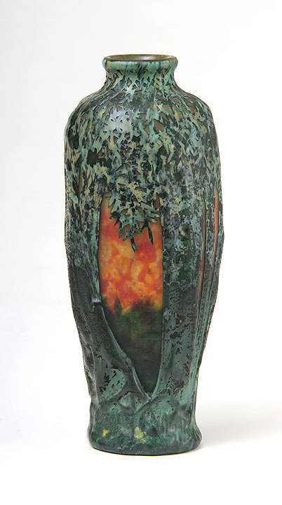 We sold this lovely Daum blownout scenic vase at the show