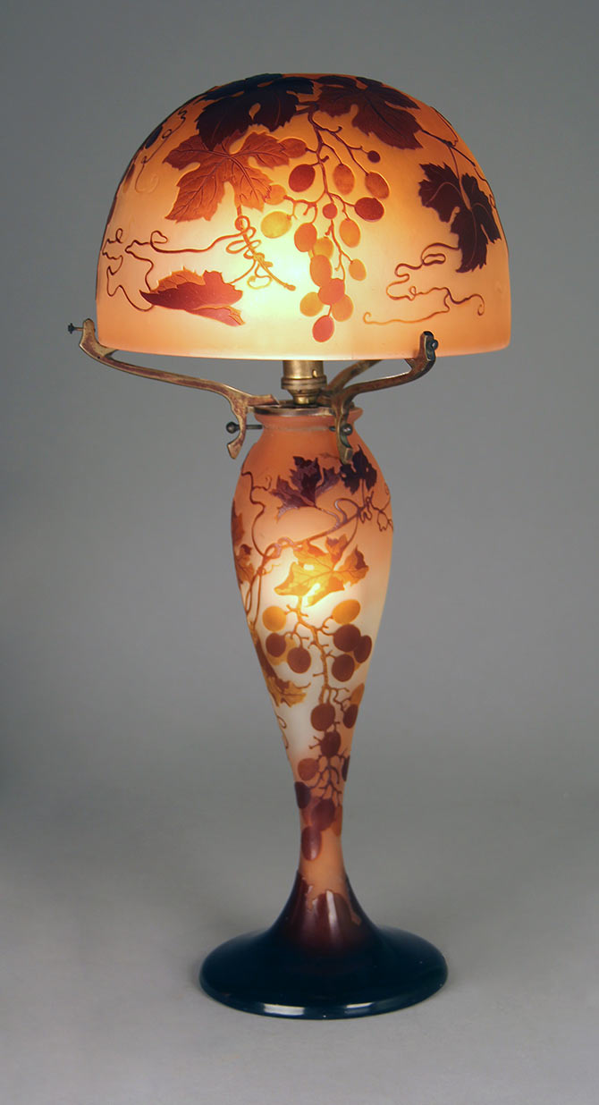 We sold this lovely Gallé table lamp at the show