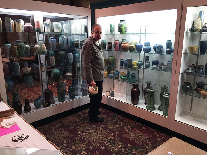 Arnie Small has an amazing display of American Art pottery