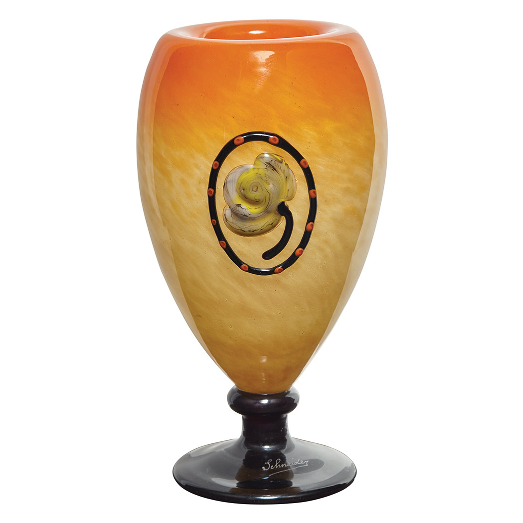 A Schneider applied floral vase, Doyle lot #302