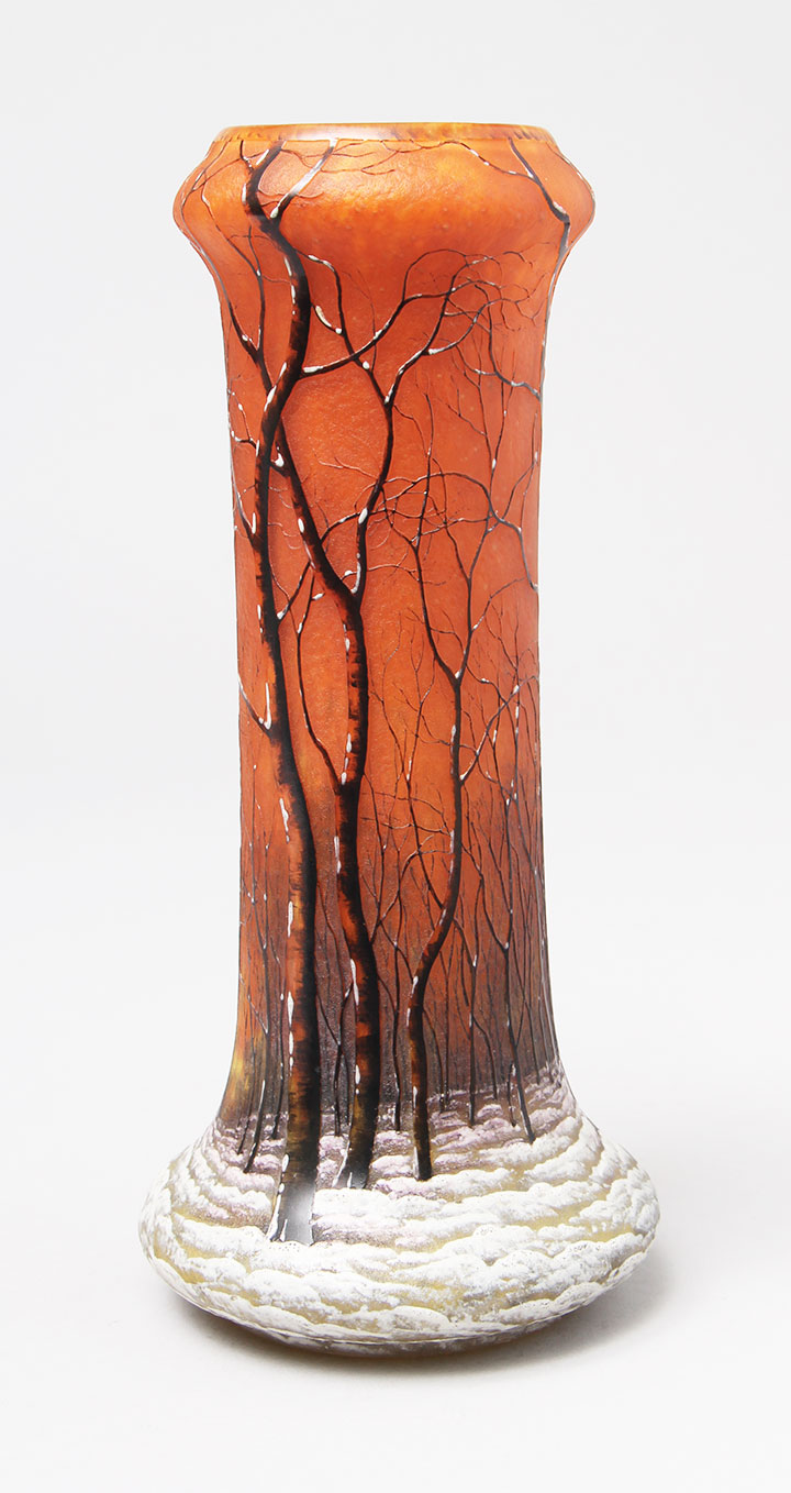 We'll have this high-quality Daum Winter scenic vase at the show