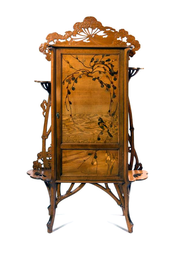 Emile Gallé marquetry cabinet, Hindman lot #42
