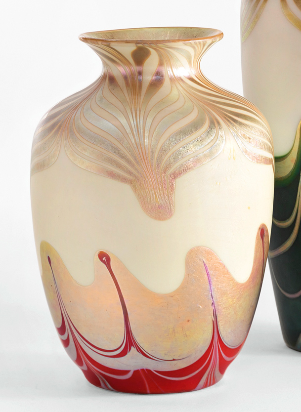 Steuben red decorated vase, Sotheby's lot #18